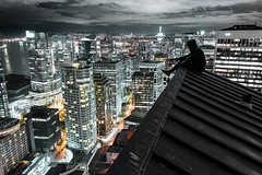 One who has touched the sky (JayCWSee) Tags: blue climb building high danger britishcolumbia nightphotography night city cityscape rooftop vancity vancouver