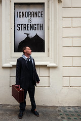 Ignorance is Strength (stevedexteruk) Tags: playhouse theatre 1984 nineteen eighty four northumberland avenue london 2016 suitcase man case ignorance strength portrait