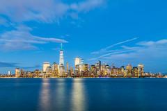 Lower Manhattan (John Getchel Photography) Tags: 1worldtradecenter hudsonriver libertystatepark manhattan newjersey newyorkcity bluehour reflections