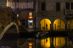 Moonlight Shadow (Franco Beccari) Tags: shadow canal chioggia bridge silhouette nikon vacation color colour holiday trip travel tourism red yellow black white world europe city photography nikkor d600 nikond600 veneto italy