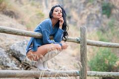 La mañana de Ela (josejuanpantoja) Tags: sexy sensual woman girl mujer female femenine sweater blue panties wood longsocks brunette portrait retrato forest nikon d700 85mm