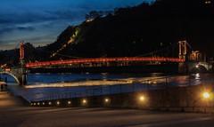 Passerelle Saint-Georges (morganelafond) Tags: lyonbynight lyon passerellesaintgeorges france rhone bridge pont rouge red nuit architecture crépuscule