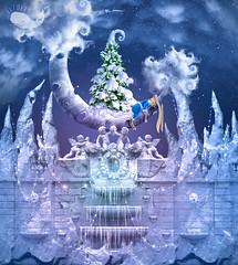 Christmas Wonderland (Alexandra_Fomicheva) Tags: landscape christmas crescent moon winter xmas snow night stars snowfall lights glow magic icicles photoshop fairy christmastree