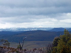 Cradle mountain in the distance (LeelooDallas) Tags: australia tasmania cradle mountain landscape dana iwachow fuji finepix hs20 exr dove lake water cloud sky tree forest