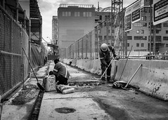 Sidewalk Closed (Yewbert The Omnipotent) Tags: toronto canada lightroom urban city downtown construction street bw blackwhite nikon d750 35mm tamron