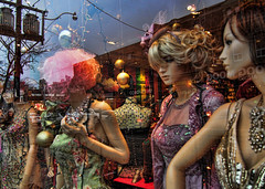 Party Girls at Original on Queen Street West, Toronto (Sally E J Hunter) Tags: queenstreetwest queenwest queenstreet mannequin original window toronto ontario female