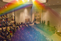Rainbow at Museum of Art Christmas Party (aaronrhawkins) Tags: museumofart moa byu rainbow color christmas party noteworthy crowd lobby singers string art brighamyounguniversity provo utah aaronhawkins