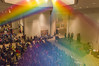 Rainbow at Museum of Art Christmas Party (aaronrhawkins) Tags: museumofart moa byu rainbow color christmas party noteworthy crowd lobby singers string art brighamyounguniversity provo utah aaronhawkins