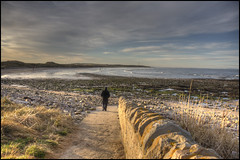 Moray Coast (pictureThis-d.i) Tags: picturethis moray scotland coast northsea wall path man lighthouse beach winter