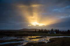 A Sunset (Gigin - NoDigital) Tags: sun plant thingvellir sunset church nature water buildings geography iceland europe locations trees