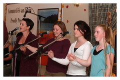 Mary Jane Lamond and young Gaelic singers at Christmas Island.