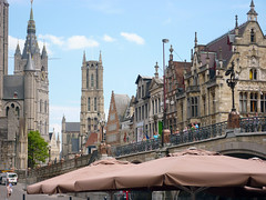 Gent, Belgium (LidyvN) Tags: street city bridge house tower cathedral belgium centre parasol gent cathdral
