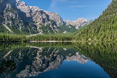 Ad un passo dal cielo (marypink) Tags: summer sky lake mountains reflection water montagne cielo unescoworldheritage lagodibraies simmetria riflesso trentinoaltoadige dolomitidisesto nikond800 nikkor1635mmf40