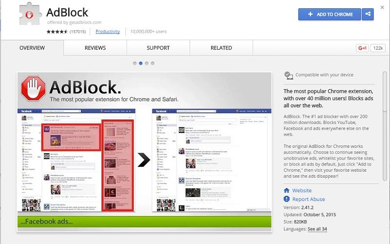 បិទផ្ទាំងផ្សព្វផ្សាយពាណិជ្ជកម្មចោលនៅលើ Chrome ជាមួយនឹង Adblock