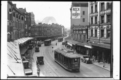 George Street from Grosvenor Street looking north, November 1931  / unknown photographer (State Library of New South Wales collection) Tags: statelibraryofnewsouthwales