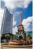 Augustusplatz Uniriese (Weisheitszahn, MDR-Tower) und Mendebrunnen (foerster_christoph) Tags: leipzig sachsen stadt leben weltstadt diewelt uniriese schön weisheitszahn speckshof mendebrunnen