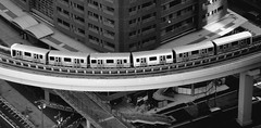 TOKYO TRAIN OVERLOOK  BLACK AND WHITE (patrick555666751) Tags: white black blanco japan branco train tokyo und asia noir y negro patrick preto e and roger overlook et weiss bianco blanc nero japon schwarz overview brance