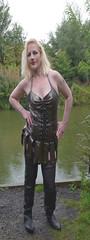sassy queen 001 (team stalker) Tags: woman lake sexy stockings panties fishing shiny boots blonde fishnets carp satin milf pvc sexylegs carpie