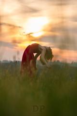 Dancing To The Sun (Daniele Pauletto) Tags: sunset red nature girl beauty smile fashion model ballerina tramonto dress bend moda free sorriso rosso ragazza modella cambrè dpphotography