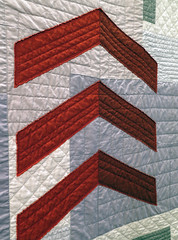 Finding Depth chevrons (Quiltachusetts - Heather Black) Tags: mmdern contemporary quilt grey gray neutral rust red chevron layer yellow raw edge aplique applique