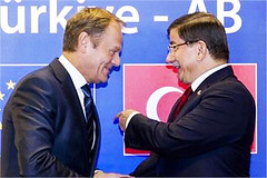 European Council President Donald Tusk shakes hands with Turkish Prime Minister Ahmet Davutoglu (legend_news) Tags: brussels building prime during hands european with president eu meeting an donald summit council turkish minister tusk shakes ahmet sidelines davutoglu euturkey
