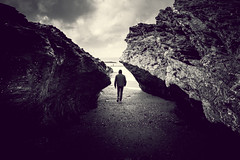 another pinch point (Robin Jaffray) Tags: uk light blackandwhite bw beach silhouette walking lights coast rocks cornwall fuji shadows hayle pincer fujix100s x100s fujifilmx100s