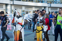 Tracer, Lucio, and Mercy (Oshley Cosplay) messing with her staff (fny82) Tags: california wow us unitedstates cosplay games worldofwarcraft convention blizzcon diablo tracer anaheim starcraft blizzard mercy lucio 2015 overwatch anaheimconventioncenter hearthstone ashleyoneill heroesofthestorm oshleycosplay blizzcon2015