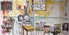 """Le restaurant """"L'épicerie"""" (geneterre69) Tags: café restaurant aquarelle dessin"""
