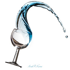 Water Magic (arash_rk) Tags: blue water glass speed canon photography drops high wine air flash freezing arash mid     karimi        razzagh