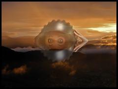 GOOD MORNING SUNSH(R)INE - KOPFTOPF (LitterART) Tags: spooky vision head helmet belbach irmi sky skies himmel steiermark styria austria sterreich scary cool eyes art mibaeisbraun barbara weird kopftopf odd helm waldstein