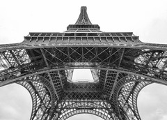 A View from Down Under (brianloganphoto) Tags: outdoor france architecture historical wroughtironlatticetower paris eiffeltower tower landmark monochrome day overcast vacation blackandwhite iron bw ledefrance fr