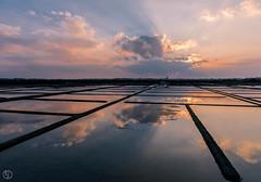 Reflection in the saltpans... (Grégory Dolivet) Tags: sunset reflection cloud landscape nature nikon flickr d750 sun marais sel salt saltpan soleil reflet