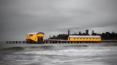 Queenscliff Pier, Victoria, Australia (Chas56) Tags: queenscliff queenscliffpier sea seaside seascape ocean beach canon canon5dmkiii structure pier jetty boardwalk yellow waves contrast boatshed ngc