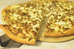 """Greek"" Pizza (Christopher Wallace) Tags: pizza food culinary cuisine dough crust delicious yum yummy eat hungry homemade fresh cheese yeast flour salt sugar water oil feta lamb greekyogurt spinachartichoke artichokehearts dip artichoke spinach garlic"