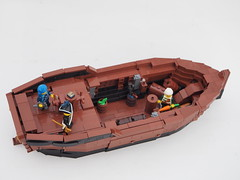 The ETWC Ship - Fog-Breaker, Interior (Robert4168/Garmadon) Tags: lego ship sloop sail spanker topsail mainsail mast gaff boom stern bow brickbuilt hull etwc eslandola mylesbowditch rigging brown black white interior