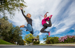 Double the fun (Flickr_Rick) Tags: jump jumping jumpology outside autumn woman girl athletic breanne