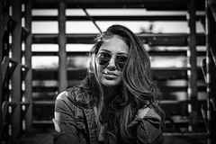 beautifull eyes behind glass (sonofphotography) Tags: beautiful eyes glasses sonofphotography tsphotoart blackandwhite bw beauty portrait street fashion photo art hair jeans light shade leicam240 speedlight