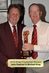 026-John Raphael & 'Invisible' Michael King-Winter Foursomes Trophy Winners (Neville Wootton Photography) Tags: 2016golfseason andrewcorfield golfsectionmens invisiblepeople johnraphael michaelking presentationnights stmelliongolfclub winners winterfoursomestrophy saltash england unitedkingdom