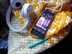 Serious work (andreabailey50) Tags: crochet granny square afghan blanket christmas audio book tolkien