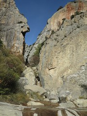 looking towards the gorge (squeezemonkey) Tags: catalunya abelladelaconca rockpools gorge waterfall landscape stream rock limestone