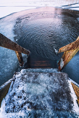 Did you know that in Finland swimming season stands all year round? (L.Matero) Tags: canon 6d 1635 f4l is usm avanto ice swimming winter stairs cold morning lake water jyvskyl suomi finland