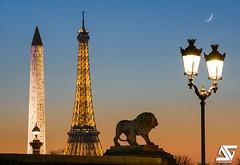 Good night Paris (A.G. Photographe) Tags: anto antoxiii xiii ag agphotographe paris parisien parisian france french franais europe capitale sunset heurebleue nikon nikkor d810 70200vrii lion lyon placedelaconcorde oblisque toureiffel eiffel tower