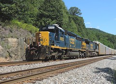 CSX 8052 and 7822 (Trains & Trails) Tags: railroad train diesel pennsylvania engine transportation locomotive csx fayettecounty emd sd402 ohiopylestatepark 8052 darkfuture 7822 yn3 standardcab q26114