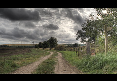 Country. (Alex takes photos.) Tags: road 2 3 color colour colors sign prime countryside high nikon gate colours dynamic post cloudy yorkshire 28mm tripod full dirt frame fx tamron range ff hdr pathway subtle drax bbar exposures cs3 d610 photomatix nikno adaptall xolours