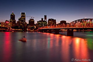 Portland bridges downtown skyline with Hawthorne Bridge and Willamette River