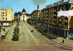 Romania - Ploiesti [001] - 1968 - front (Ye-Di) Tags: retromania 60s 1968 postcard romania ploiesti gazm21 volga газ21 во́лга fiat 850 ansichtskarte communism socialism damaged