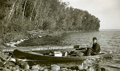 Canoe Trip (Sherlock77 (James)) Tags: trees people dog lake man canoe oldphoto foundphoto foundnegative