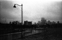 Downtown fog (christait) Tags: street canada calgary film fog downtown streetlamp grain alberta yyc ilforddelta3200 bridgeland yycstreet