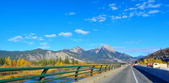Pano: Happy Fence Friday to you! (peggyhr) Tags: trees canada mountains river alberta railings jaspernationalpark hff peggyhr dsc00453ab
