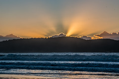 Watching the sun come up at Umina Beach (Merrillie) Tags: sunburst uminabeach landscape nature australia mountains nswcentralcoast newsouthwales sea earlymorning nsw beach centralcoastnsw umina morning outdoors waterscape sunrise waves water seascape